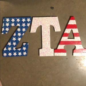 ZTA wooden letters